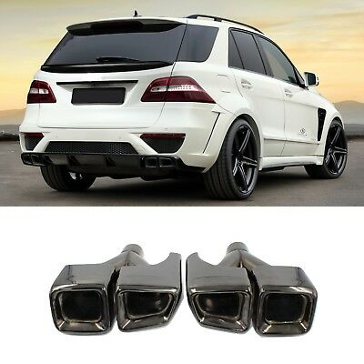 AMG Style Black Exhaust Muffler Tips Quad Chrome For Mercedes Benz C CLS E ML S