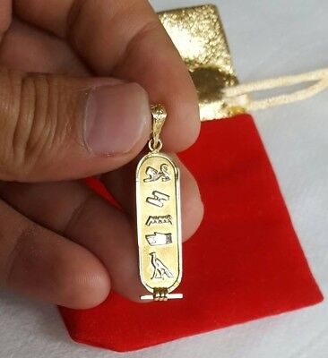 YOUR NAME IN HIEROGLYPHIC 18K Gold Egyptian Cartouche necklace pendant
