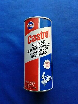 NOS Castrol Super High Performance Snowmobile Oil Can 50:1 Ratio No UPC Unopened