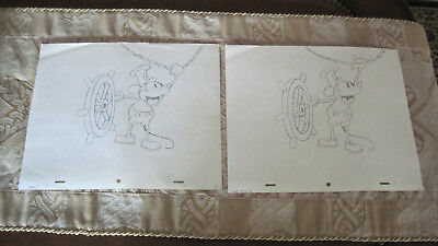 Orig. Two Walt Disney Production Drawings Steamboat Willie 12x10