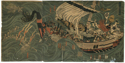 1839 KUNIYOSHI Original Japanese Woodblock Print Triptych Samurai vs Ghost Ship