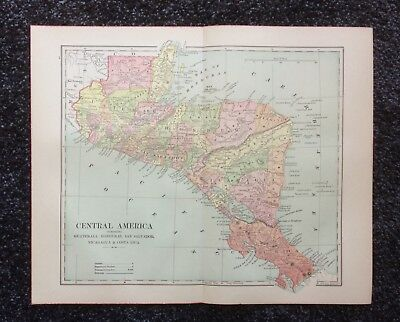 Vintage Original Map 1897 Central America, Eaton & Mains