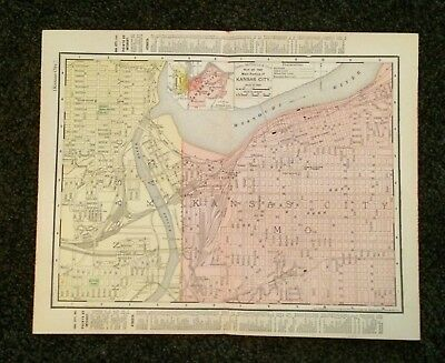 Vintage Original Map 1897 Kansas City, Missouri USA, Eaton & Mains