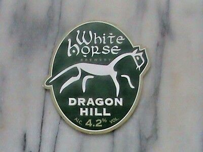 White Horse Dragon Hill real ale beer pump clip sign