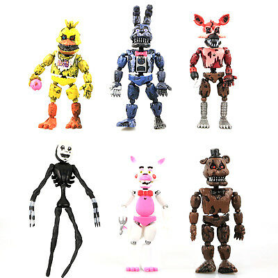 "6 PCS Five Nights At Freddy's FNAF Bunnie Game 6"" Action Figure Doll Toys Gift"
