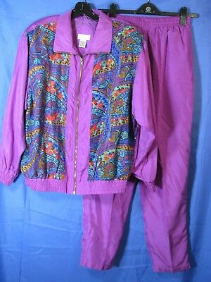 VTG BOCOO Silk Parachute TRACK SUIT JACKET/PANTS Purple RETRO PURPLE & PRINT M