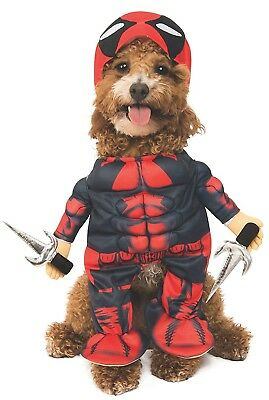 Deadpool Dog Pet Halloween Costume Funny Outfit Shirt with Attached Arms L XL
