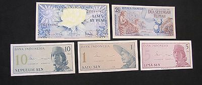 Lot of 5 High Grade Indonesia Notes - 1964 1 Sen, 5 Sen, 10 Sen; 1959 5 Rupiah