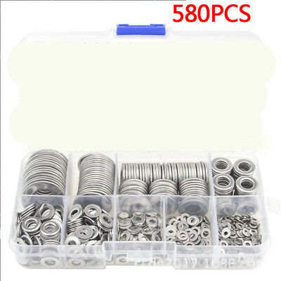 580X Stainless Steel Flat Washers For M2 M2.5 M3 M4 M5 M6 M8 M10 M12 Screws Bolt
