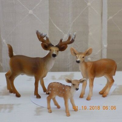 schleich german plastic animals buck, doe and fawn deer family