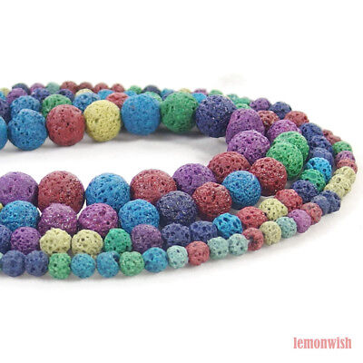 Multi Color Volcanic Lava Gemstone Round Spacer Beads 15.5'' 4mm 6mm 8mm 10mm