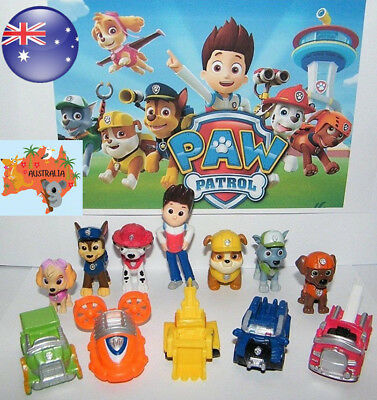 Paw Patrol Dog Puppy Rescue Character 12pcs Toys Figure Figurine Cake Topper AU