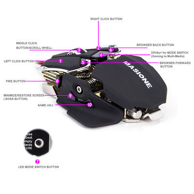 Gaming Mouse 10 Buttons LED USB Optical 4800 DPI PC Mice Wired For Game Office