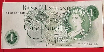 Bank of England 1 / One Pound Banknote, Y10D 536189