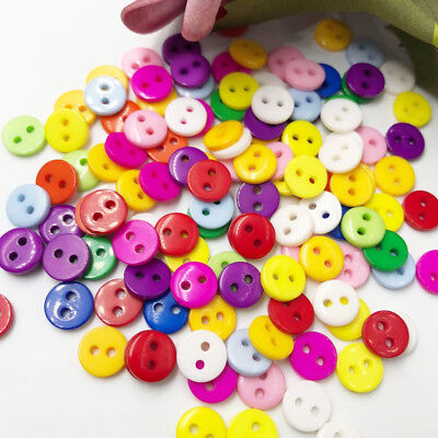 100pcs New 8mm 2 holes Plastic Button / Sewing lots Mix - Free Shipping PT12