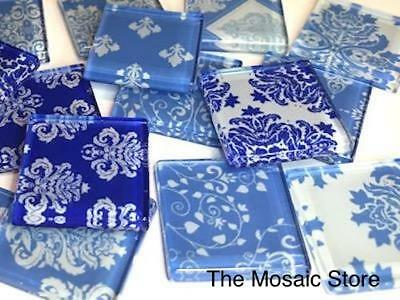 Blue Damask Patterned Glass Mosaic Tiles 2.5cm - Mosaic Tiles Supplies Art Craft