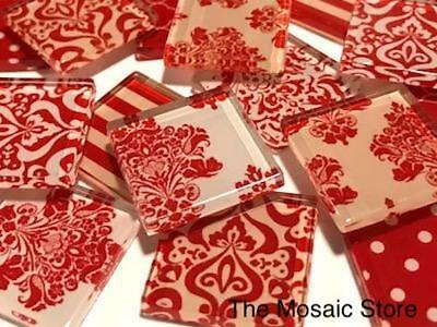 Red Damask Patterned Glass Mosaic Tiles 2.5cm - Mosaic Tiles Supplies Art Craft
