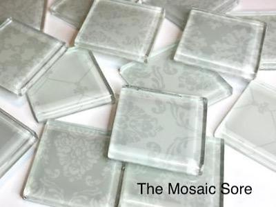White Damask Patterned Glass Mosaic Tiles 2.5cm - Mosaic Tiles Supplies Craft