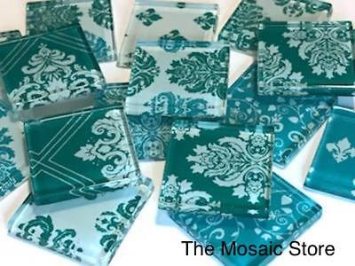 Teal Damask Patterned Glass Mosaic Tiles 2.5cm - Mosaic Tiles Supplies Craft