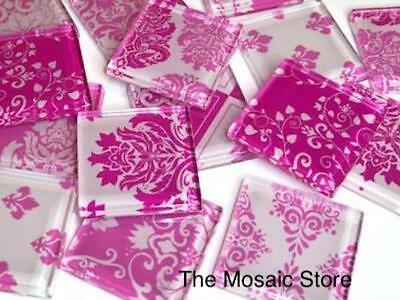 Hot Pink Damask Patterned Glass Tiles 2.5cm - Mosaic Tiles Supplies Art Craft