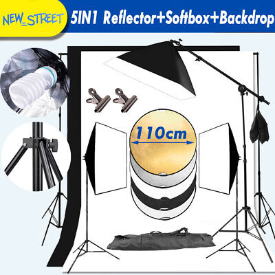 110CM 5IN1 Reflector+Softbox+Boom Arm Background Stand Continuous Lighting Kit
