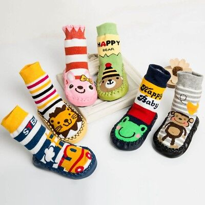 Baby Boy Girl Animals Moccasins Non-Slip Indoor Slippers Socks Shoes Stocking