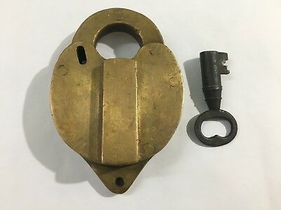 Antique old brass solid switch padlock with key rich patina unusual shape