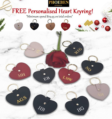Personalised Monogram Womens Ladies Accessories Leather HEART KEYRING Gift