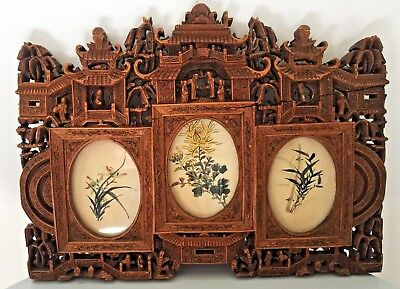 Impressive rare chinese vietnamese? wood carved frame, antique