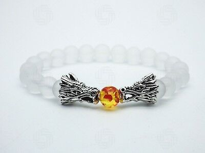 Mens Clear Quartz Silver Dragon Chinese Bracelet Beads Stone Gemstones Gift UK