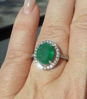 0.82ct NATURAL ROUND DIAMOND 14K SOLID WHITE GOLD EMERALD WEDDING CLUSTER RING