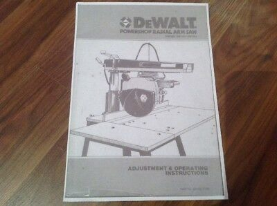 Dewalt Radial Arm Saw Manual/Booklet Dw 1501 Dw1251  Dw1503 Models Free Postage