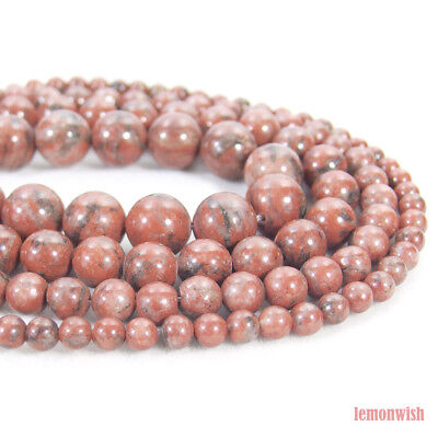 Natural Red Spot Jasper Gemstone Round Spacer Beads 15.5'' 4mm 6mm 8mm 10mm DIY