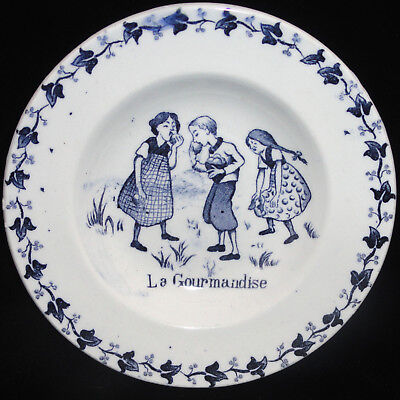 French Childs Plate  ~ Eating Apples ~ Childhood Games c1900 Gien Amusements