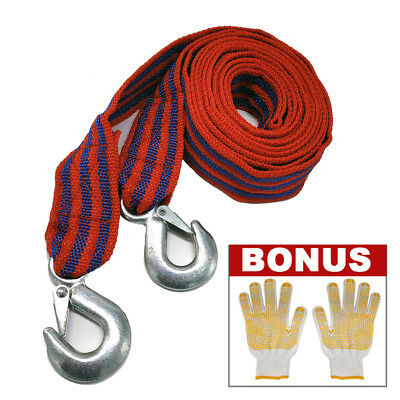 5Ton 4M Heavy Duty Towing Pull Strap Tow Rope Car Van 4x4 Road Recovery
