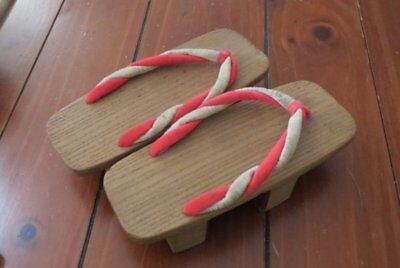 "Japanese Antique Wooden Geta Clogs Shoes Size 9""/23cm Heel 1.5"" high Red & white"