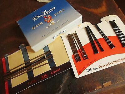 NEW Vintage 50s DeLong Hair Pins in box assorted and GAYLA Pins