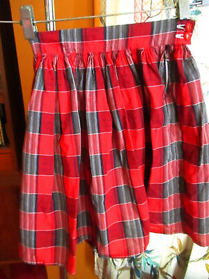 """20"""" 20W Vtg 50s ROCKABILLY COUNTRY COTTON RED PLAID PRINT COTTON SIDE ZIP SHORTS"""