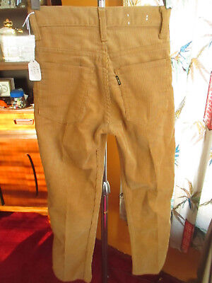 22x25 true Vtg 70s Boys LEVIS GOLDEN CORDUROY BIG E STRAIGHT HIPPIE JEANS