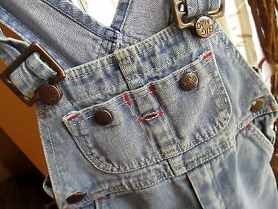 sz 3T 3 True Vtg 1980s Boys Girls BIG MAC DENIM OVERALLS RELIC FADE JEANS USA