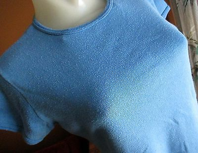 M True Vtg 70's Womens CLASSIC RELIC FADED Blue BABY DOLL DISCO T-SHIRT Top