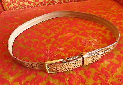 TRUE VTG 60's LEATHER RUGGED BROWN/TAN  DRESS BELT SMALL 32 USA Cowhide