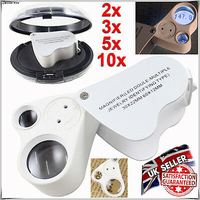 30X & 60X Jewellers Eye Jewelry Lens Glass Loupe Magnifier Magnifying LED Light