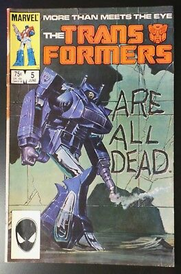 """Transformers #5 Marvel Comic 1985 """"Are All Dead"""""""