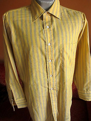 MEDIUM TRUE VTG 70s Mens ARROW GOLD/BLUE STRIPE POINT COLLAR MOD SHIRT