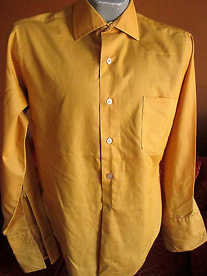 MEDIUM TRUE VTG 70s Mens MONARCH GOLD FRENH CUFF POINT COLLAR MOD SHIRT