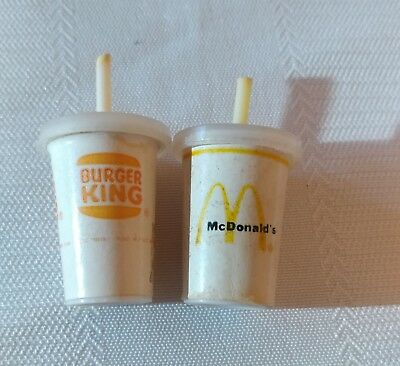 mini- miniature- Vintage burger king- Mcdonalds- cup & straw