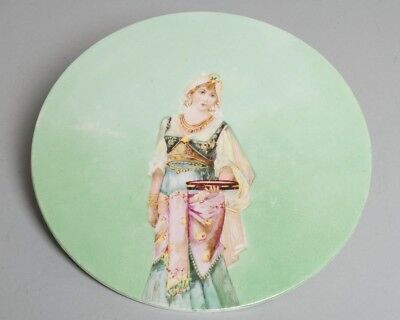 "Antique Ceramic Round Trivet Tea Tile 9.5"" Painted Green with Belly-dancer Woman"