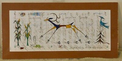 Elk Runs To Corn / Native American Ledger Art by Lakota Artist Sonja Holy Eagle