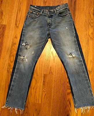 66a8673d60f VINTAGE Levis 501 Cropped Ripped Button Fly Straight Leg Size 28w28in